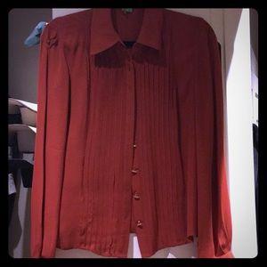 Burnt orange long sleeve dress shirt.